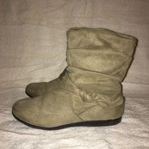 Beige Ruffled Ankle Booties